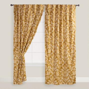 Gold and White Floral Becco Curtains, Set of 2